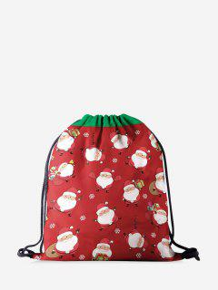Christmas Cartoon Santa Print Cinch Bag - Red