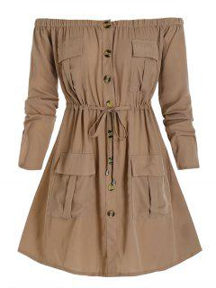 Plus Size Off Shoulder Drawstring Cargo Shirt Dress - Camel Brown 4x