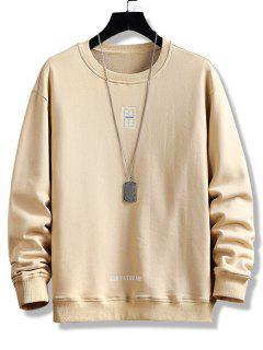 Letter Print Crew Neck Graphic Sweatshirt - Khaki Xs