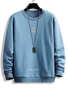 Letter Print Crew Neck Graphic Sweatshirt - Blue S