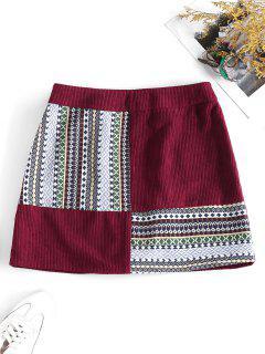 ZAFUL Corduroy Tribal Print Mini Skirt - Firebrick S