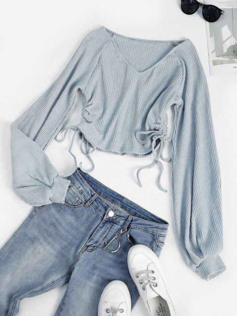 latest ZAFUL Heathered Raglan Sleeve Ribbed Cinched Top - LIGHT BLUE S Mobile