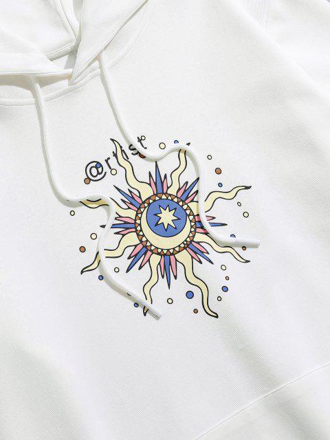 ZAFUL Durchsichtiges Sonnen Mond und Stern Muster Hoodie - Weiß M Mobile