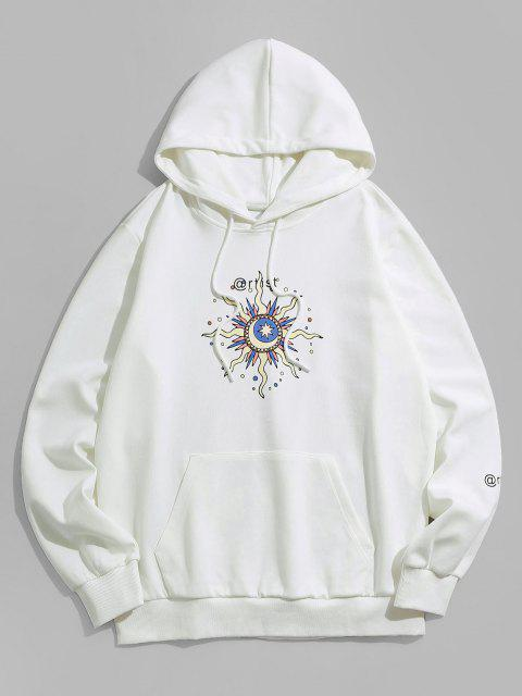 trendy ZAFUL Celestial Sun Moon And Star Pattern Hoodie - WHITE M Mobile