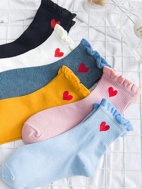 6 Pairs Embroidery Heart Ruffle Socks Set - Multi Colori-A  Mobile