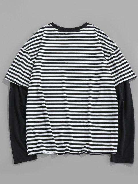 T-Shirt di ZAFUL con Maniche Stampate Lettere a Righe - Multi Colori-A 2XL Mobile
