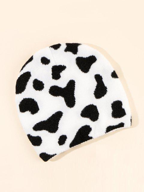 best Cow Pattern Knitting Hat - MILK WHITE  Mobile