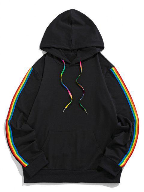 trendy ZAFUL Rainbow Striped Kangaroo Pocket Hoodie - BLACK S Mobile