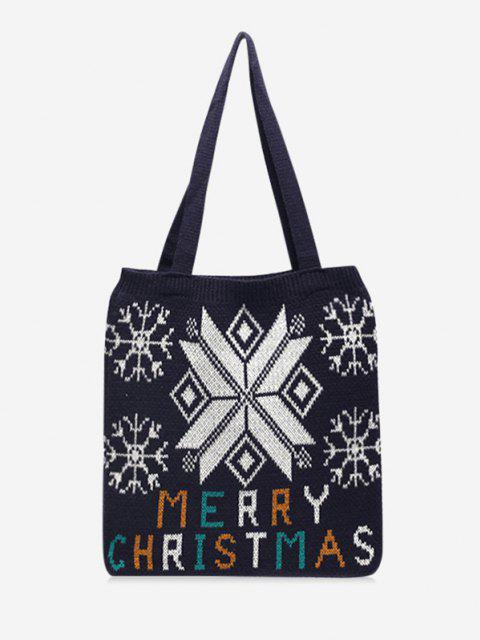 lady Christmas Tree Knitted Tote Bag - BLACK  Mobile