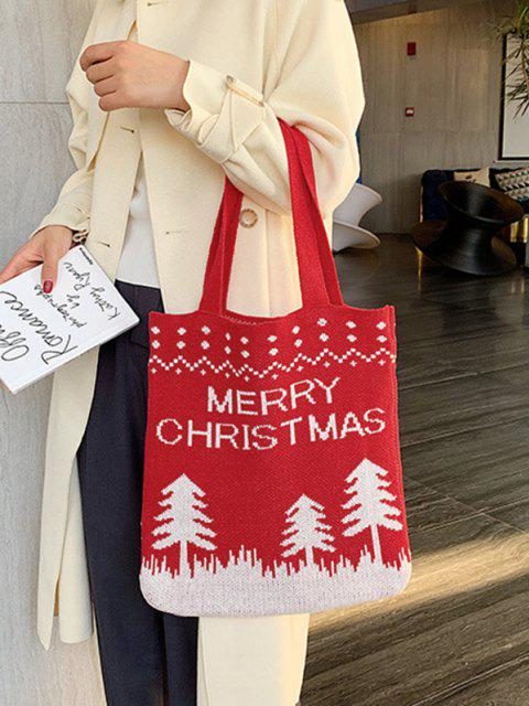 best Christmas Tree Knitted Tote Bag - LAVA RED  Mobile
