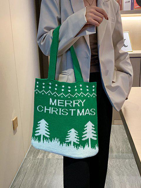 Sac Fourre-Tout Tricoté Motif Sapin de Noël - Vert Trèfle  Mobile
