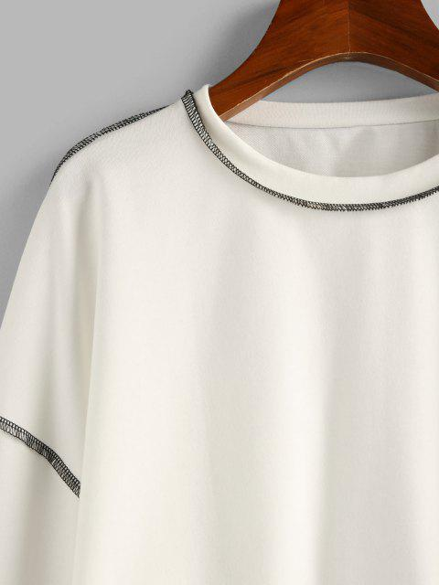 new ZAFUL Contrast Stitching Crop Sweatshirt - WHITE L Mobile