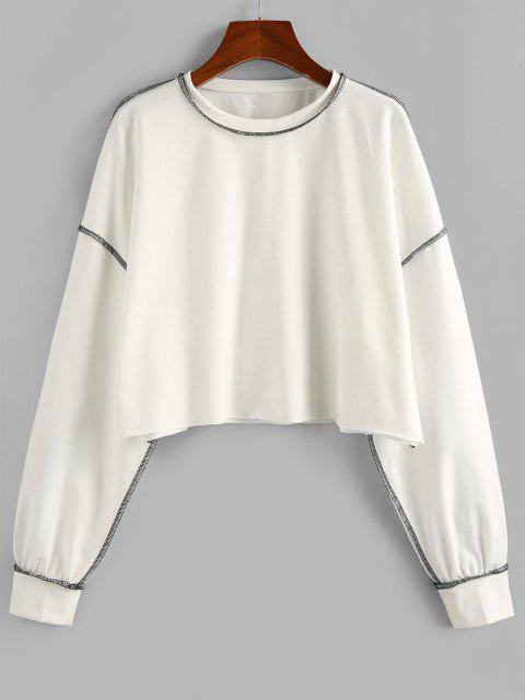 women ZAFUL Contrast Stitching Crop Sweatshirt - WHITE XL Mobile