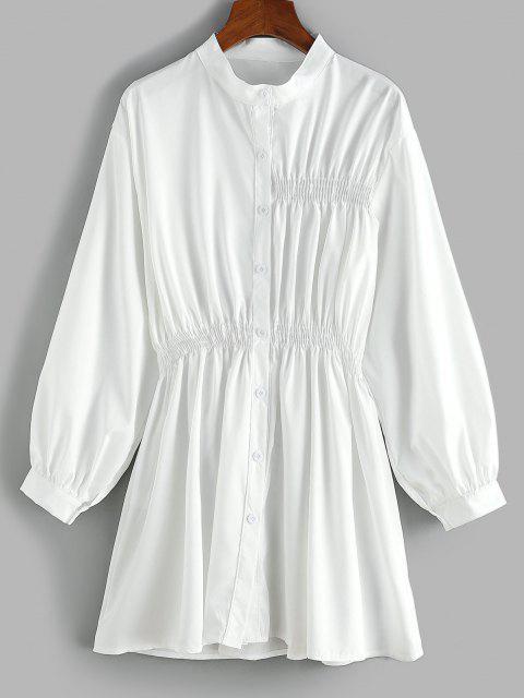Robe Chemise Taille Plissée à Manches Longues - Blanc L Mobile