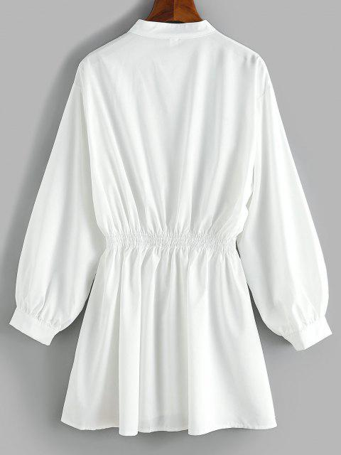chic Smocked Waist Long Sleeve Shirt Dress - WHITE M Mobile