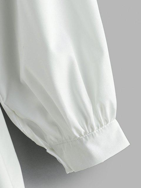 Vestido Camisero de Túnica con Manga Larga y Cinturón - Blanco S Mobile
