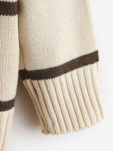 outfits Striped Drop Shoulder Turtleneck Sweater - LIGHT COFFEE ONE SIZE Mobile