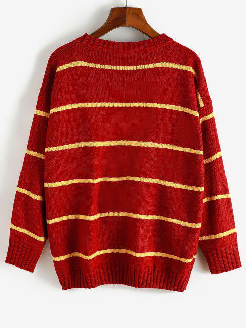 outfits Striped Drop Shoulder Loose Sweater - RED ONE SIZE Mobile