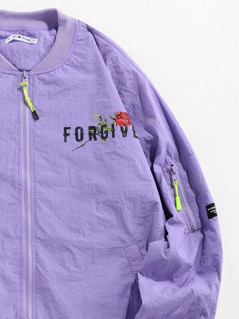 sale ZAFUL Forgive Rose Pattern Jacket - LIGHT PURPLE 2XL Mobile