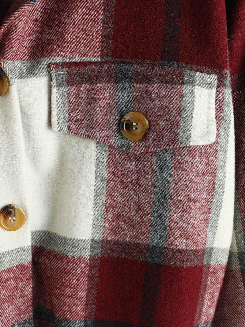 shop Plaid Contrast Fleece Hooded Button Up Jacket - DEEP RED L Mobile