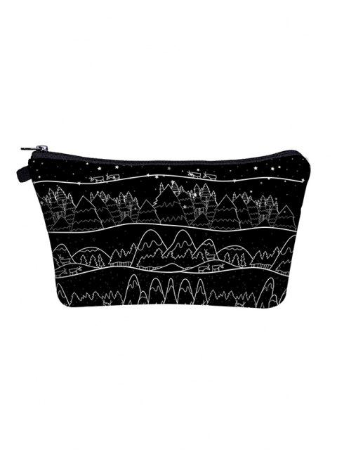 women Christmas Printed Trees Makeup Bag - BLACK  Mobile