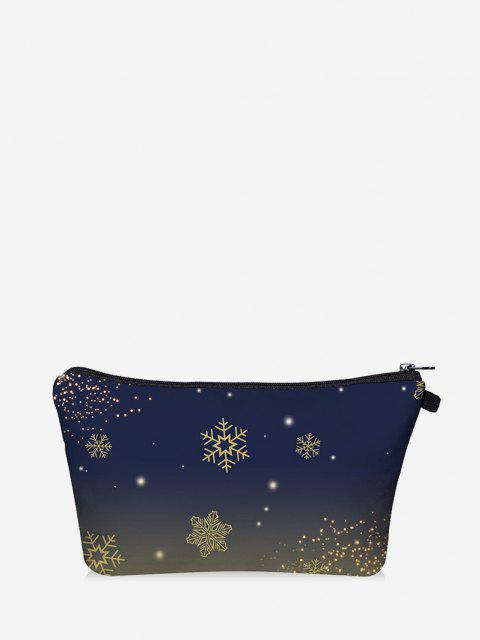 Christmas Snowflake Print Makeup Bag - داكن سليت أزرق  Mobile