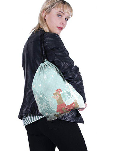 hot Christmas Cartoon Alpaca Print Cinch Bag - LIGHT SKY BLUE  Mobile