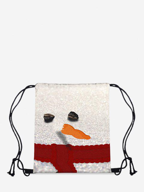 outfit Christmas Snowman Print Cinch Bag - MILK WHITE  Mobile