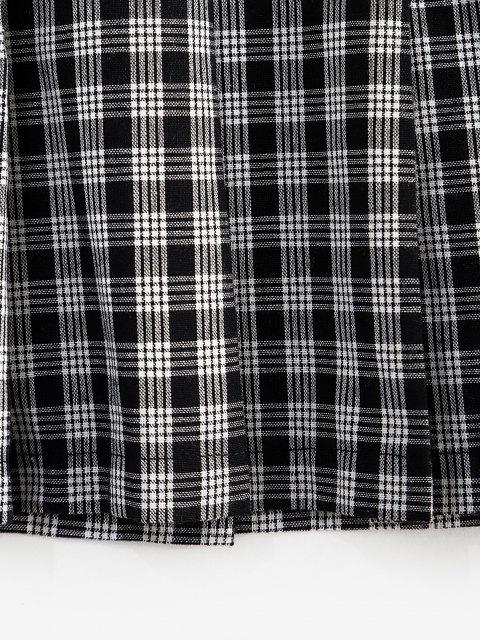 affordable ZAFUL Plaid Preppy Pleated Mini Skirt - BLACK M Mobile