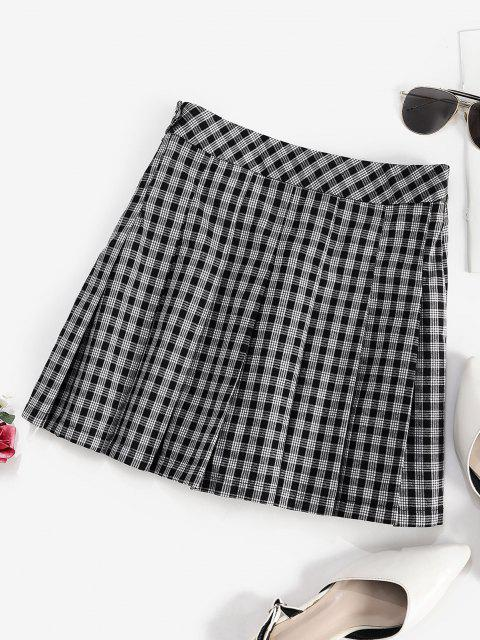 lady ZAFUL Plaid Preppy Pleated Mini Skirt - BLACK L Mobile