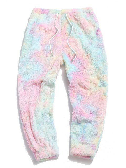 hot ZAFUL Tie Dye Fluffy Beam Feet Pants - LIGHT PINK L Mobile