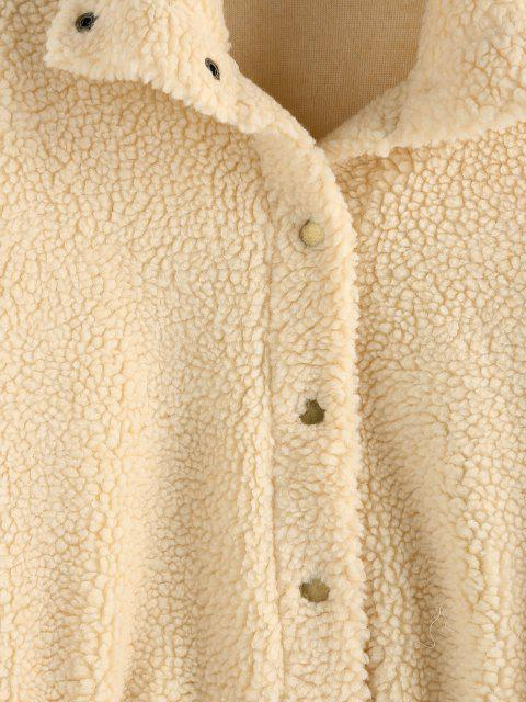hot ZAFUL Drop Shoulder Button Up Teddy Coat - APRICOT XL Mobile