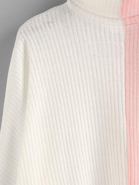 hot ZAFUL Colorblock Dolman Sleeve Sweater - WHITE M Mobile