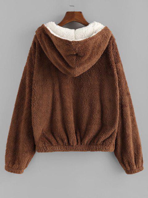 ZAFUL Faux Fur Hooded Drop Shoulder Coat - القهوة العميقة S Mobile