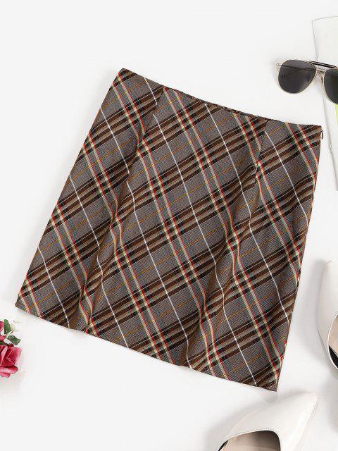 unique ZAFUL Plaid Mini A Line Skirt - COFFEE S Mobile