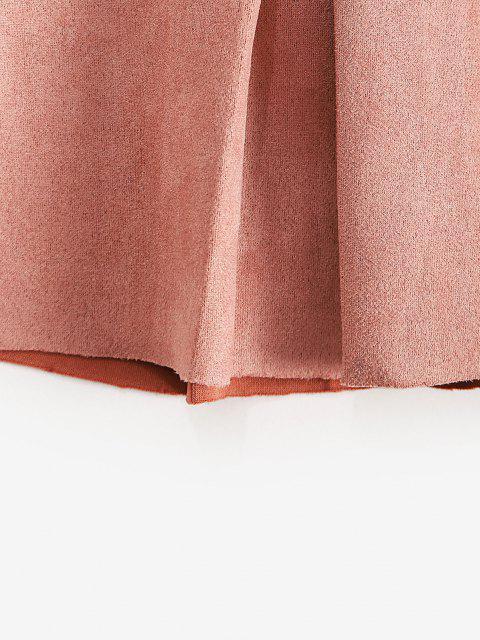 unique ZAFUL Faux Suede Pleated Mini Skirt - ROSE L Mobile