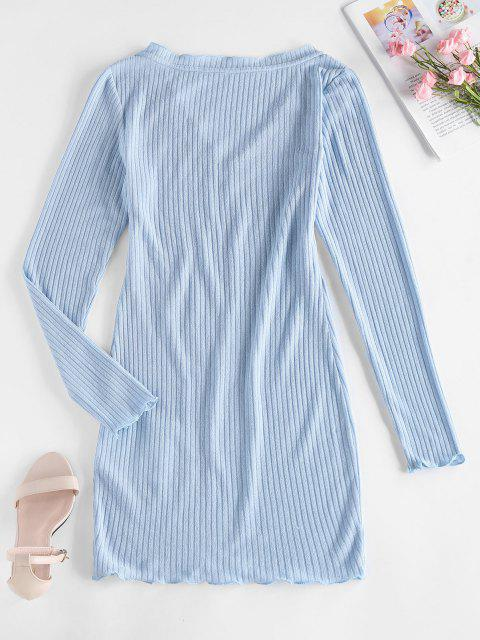 women ZAFUL Ribbed V Neck Bodycon Dress - LIGHT SKY BLUE L Mobile