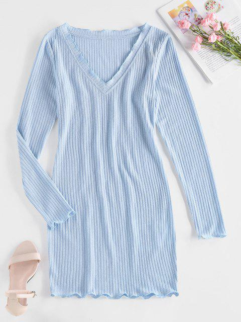 unique ZAFUL Ribbed V Neck Bodycon Dress - LIGHT SKY BLUE M Mobile