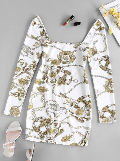 ZAFUL Mini Robe Moulante 3D Chaîne Imprimée - Blanc L Mobile