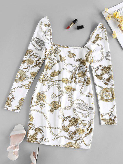 ZAFUL 3D Chain Print Mini Bodycon Dress - أبيض S Mobile