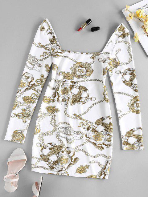 ZAFUL Mini Robe Moulante 3D Chaîne Imprimée - Blanc S Mobile