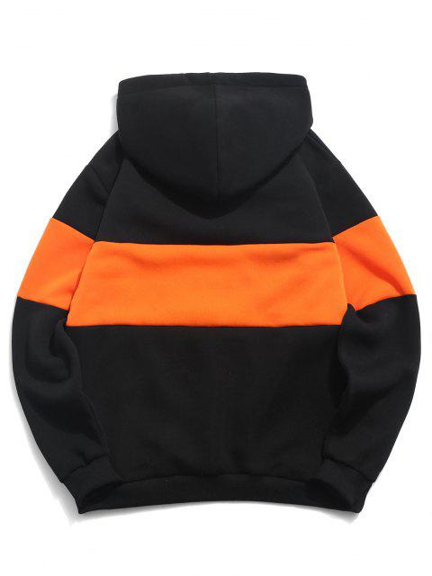 buy ZAFUL Hanzi Graphic Print Contrast Oriental Fleece Hoodie - ORANGE XS Mobile
