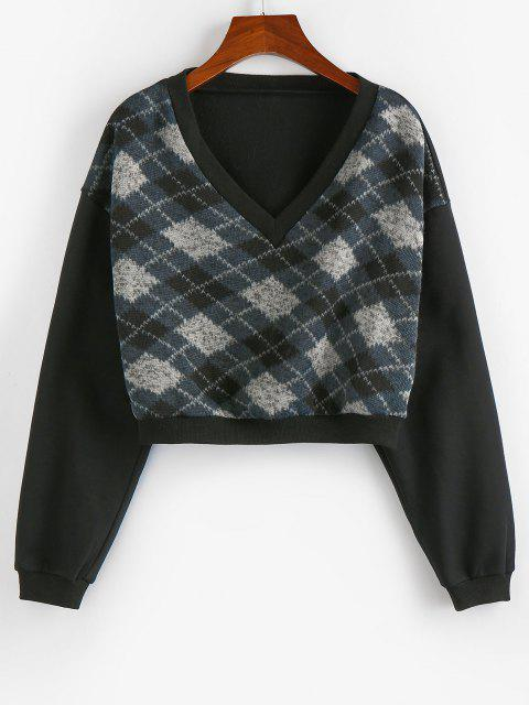 fashion ZAFUL  V Neck Argyle Cropped Sweatshirt - BLACK S Mobile