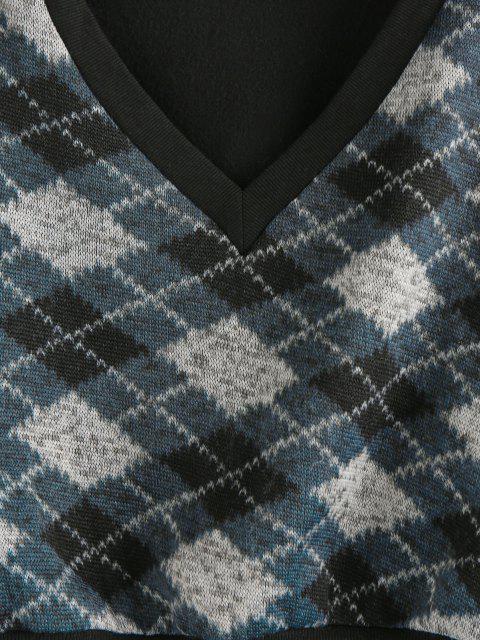 women ZAFUL  V Neck Argyle Cropped Sweatshirt - BLACK XL Mobile
