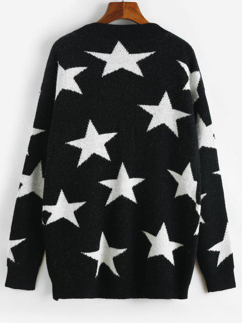 fancy Star Drop Shoulder Button Up Cardigan - BLACK ONE SIZE Mobile