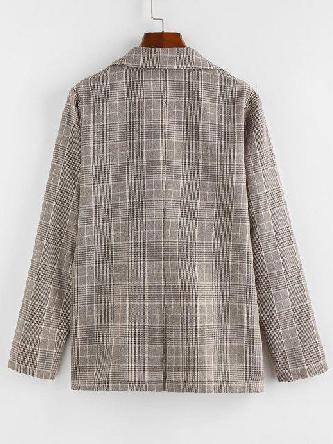 lady ZAFUL Lapel Glen Check Double Breasted Blazer - KHAKI XL Mobile