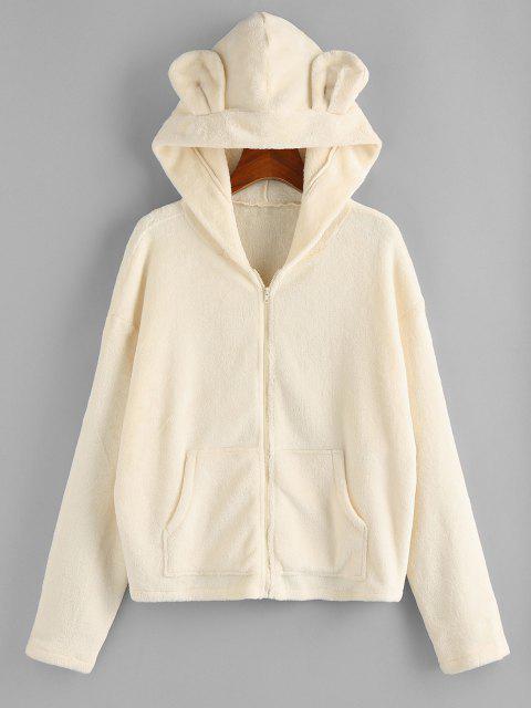 ZAFUL Plush Bear Ear Hooded Drop Shoulder Coat - اللون البيج S Mobile