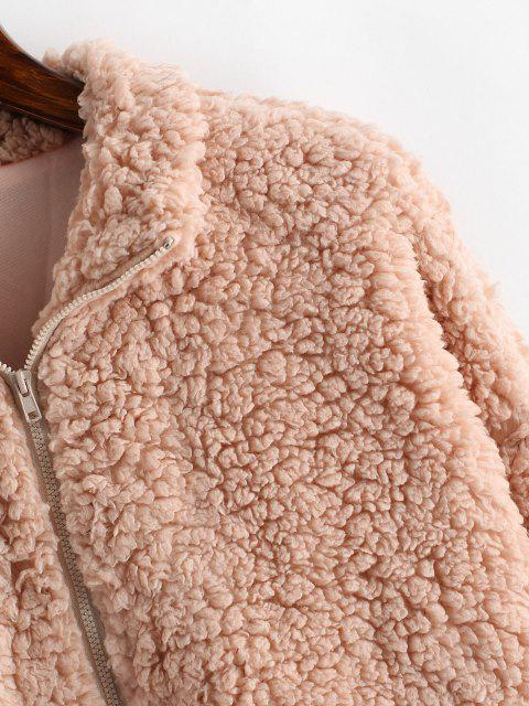 latest ZAFUL Faux Shearling Binding Drawstring Teddy Coat - ROSE M Mobile
