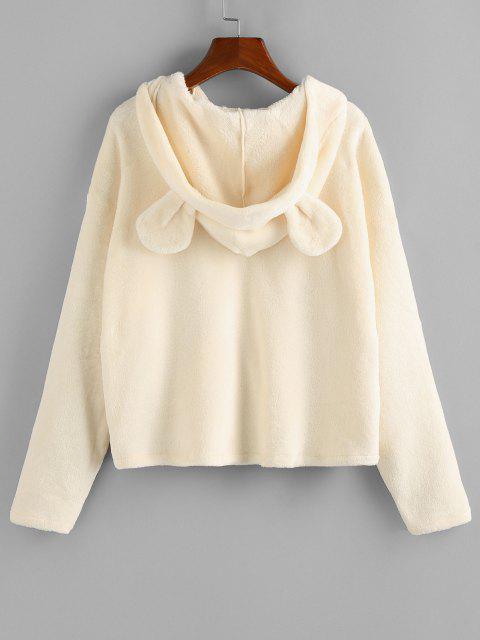 trendy ZAFUL Plush Bear Ear Hooded Drop Shoulder Coat - BEIGE M Mobile