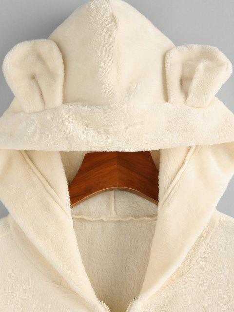 womens ZAFUL Plush Bear Ear Hooded Drop Shoulder Coat - BEIGE L Mobile